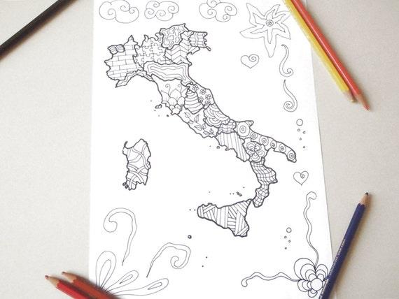 Cartina Italia Da Colorare Per Adulti Zen Meditazione Stampare Etsy