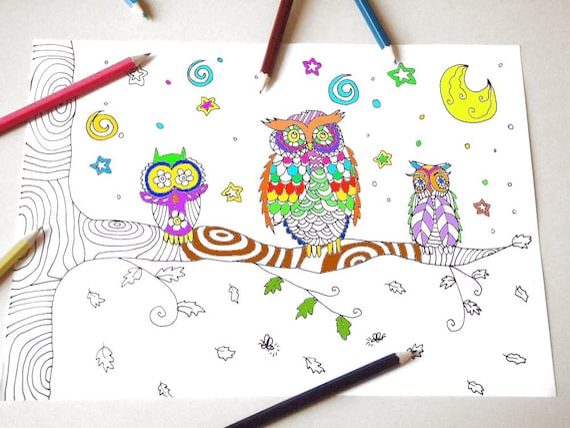 Página para colorear para niños y adultos los buhos del árbol | Etsy