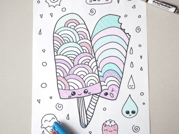 Kawaii Coloring Popsicle Ice Cream Kids Adult Instant Download Etsy