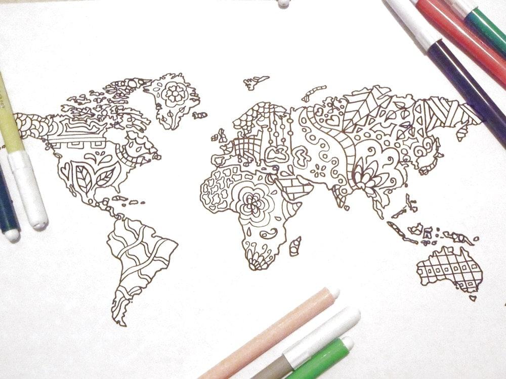 Cartina Asia Da Colorare.Mondo Cartina Da Colorare Adulti Bambini Pagina Scuola Etsy