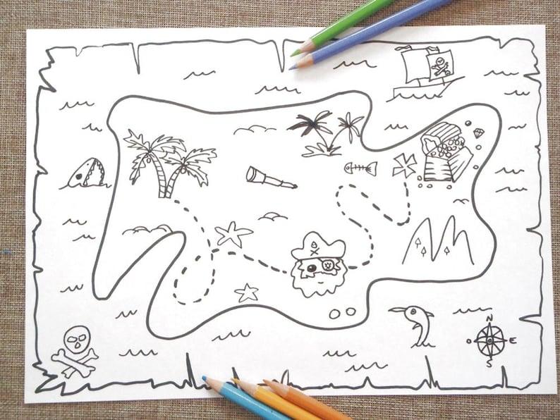 Mappa Dei Pirati Da Colorare Bambini Tesoro Bimbi Da Stampare Etsy