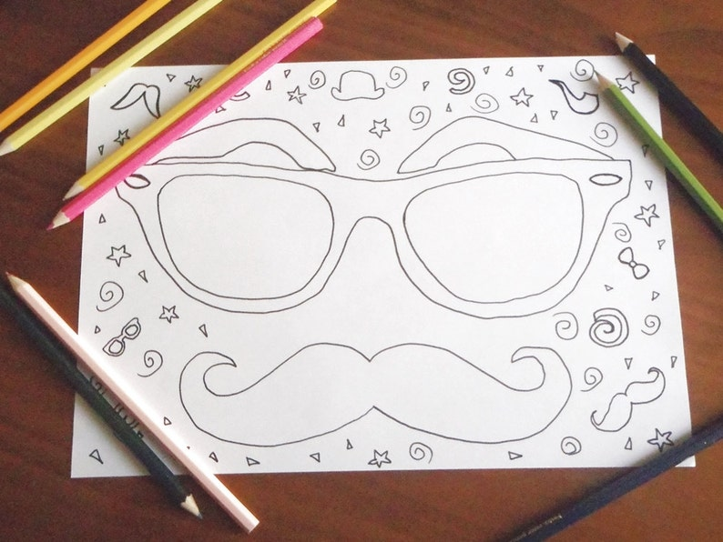 Hipster Immagine Da Colorare Occhiali Pipa Baffi Nerd Bambini Etsy