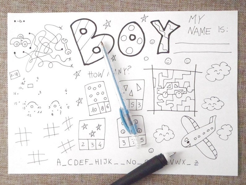 Boy puzzles guy kids activity sheet games table coloring | Etsy