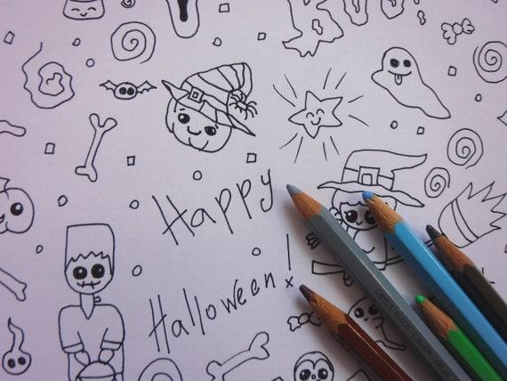 Halloween Coloriage Page Enfants Kawaii Mignon Bébé Monstres Adultes Imprimer Télécharger Instant Imprimable Design Numérique Lasoffittadiste