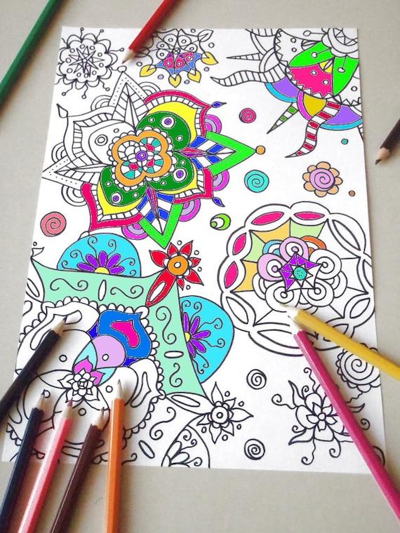 Mandala Da Colorare Per Adulti Pagina Da Colorare Mandala Zen Etsy
