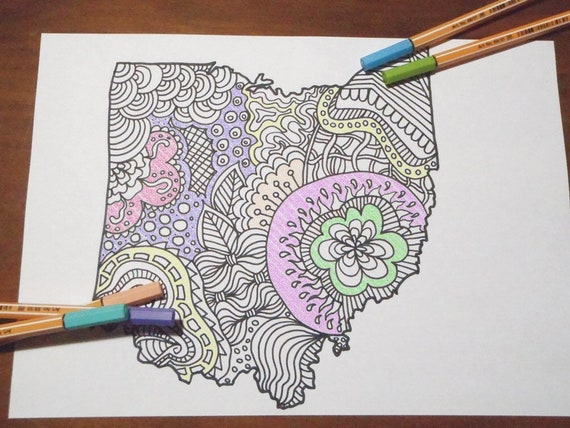 ohio state home decor.htm ohio map kids adult coloring tourist map travelmap doodle book etsy  ohio map kids adult coloring tourist
