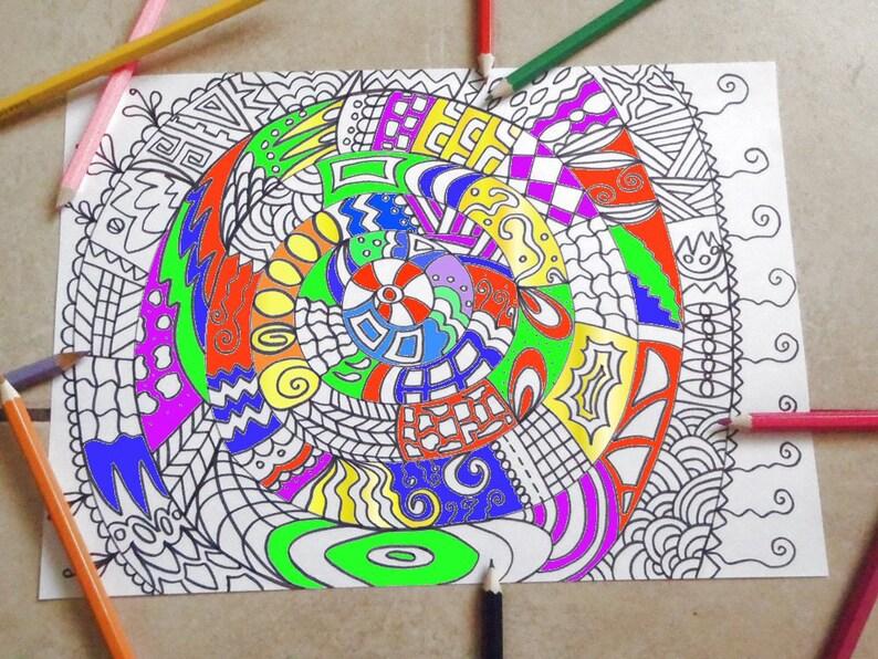 Coloriage Adulte Spirale.Adulte A Colorier Mandala Zen Art Abstrait Spiral Image Etsy