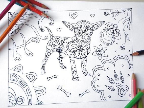 Disegno Bagno Da Colorare : Cane chihuahua disegno da colorare bambini e adulti handbag etsy