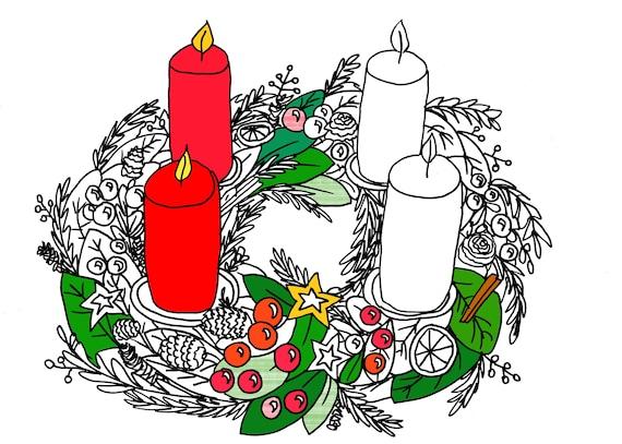 Articoli Simili A Natale Corona Dellavvento Da Colorare Adulti