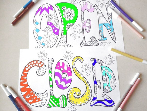 image regarding Printable Office Closed Signs referred to as open up shut signs or symptoms store keep workplace grownup coloring colouring college or university printable board billboard obtain printable electronic lasoffittadiste