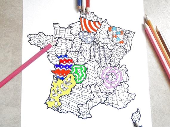 Cartina Asia Da Colorare.Francia Cartina Da Colorare Adulti Bambini Da Stampare Etsy
