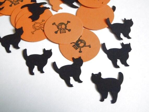 Decorazioni Matrimonio Arancione : Halloween coriandoli nozze gatto nero teschio arancione etsy