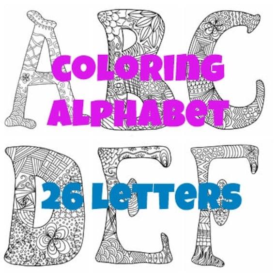 Alfabeto Da Colorare 26 Lettere Adulti Bambini Zen Iniziale Etsy