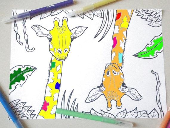 Download Giraffe Da Colorare Animali Bambini E Adulti Da Etsy