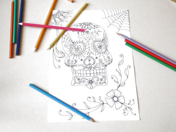 adulto de halloween de calavera de azúcar para colorear página | Etsy