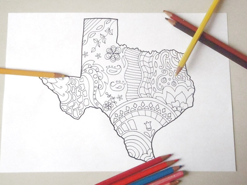 Printable Map Of Texas For Kids.Texas Map Kids Adult Coloring Tourist Map Travelmap Doodle Etsy
