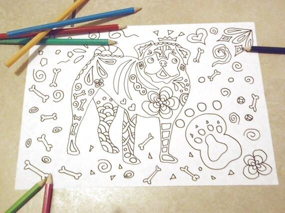 Disegno Bagno Da Colorare : Cane carlino disegno da colorare bambini e adulti handbag dog etsy
