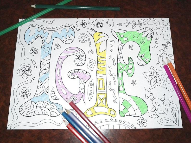 Colorare Tgif Adulti Bambini Venerdi Disegno Zen Pagina Etsy