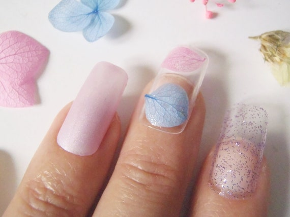 Dry Dried Pressed Flowers Fake Nails Press On False Nail Art Etsy