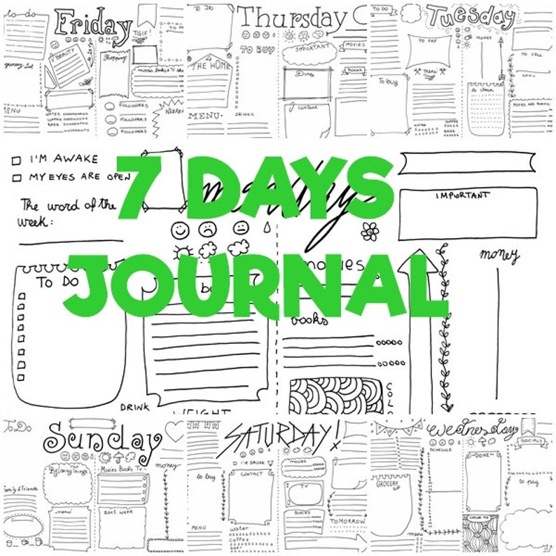 7 days bullet journal printable starter kit daily planner agenda templates  week journaling organizer work notebook download lasoffittadiste