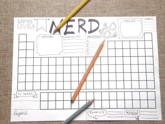 Nerd Bullet Journal Printable Planner Geek Gaming Video Games Etsy