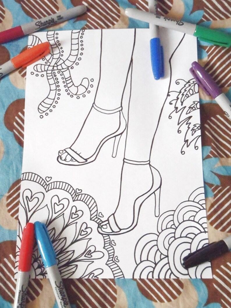 Scarpe Da Donna Colorare Adulti Tacco 12 Tacchi A Spillo Etsy