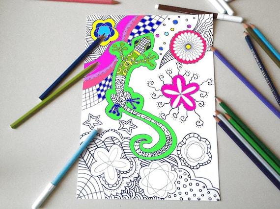 Gecko adulto para colorear libro para imprimir digital zen | Etsy