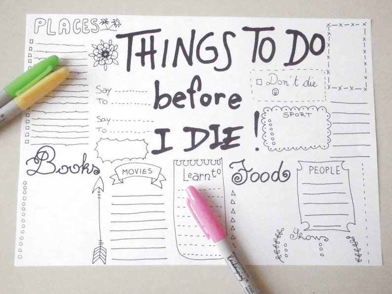 Calendario Repas.Things To Do Before I Die Bullet Journal Calendar Journaling Dreams Planner Printable Layout Template Organizer Download Lasoffittadiste