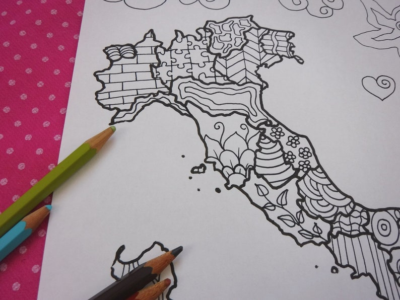 Italy map italian adult coloring page kids travel map ...