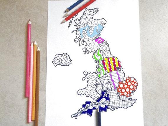 Cartina Fisica Regno Unito Da Stampare.Cartina Regno Unito Da Stampare E Colorare Per Adulti Gran Etsy