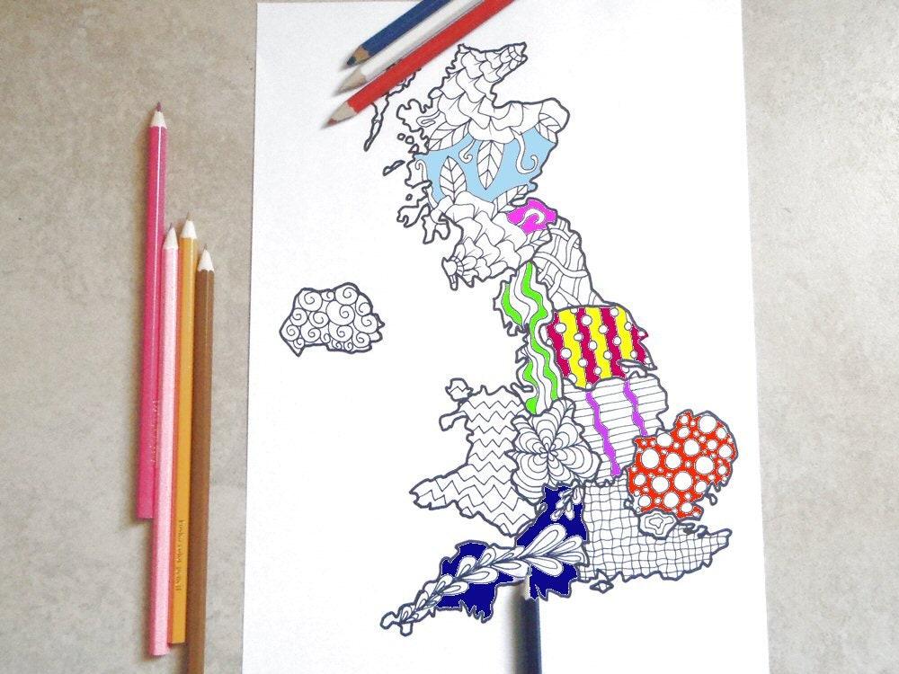 Cartina Scozia Pdf.Cartina Regno Unito Da Stampare E Colorare Per Adulti Gran Etsy