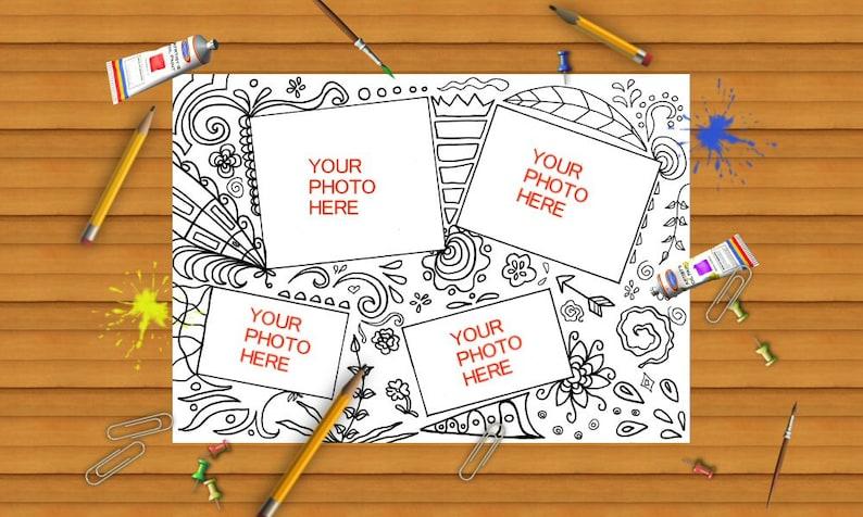 Portafoto Da Colorare Doodle Da Stampare Idea Regalo Regalare Etsy