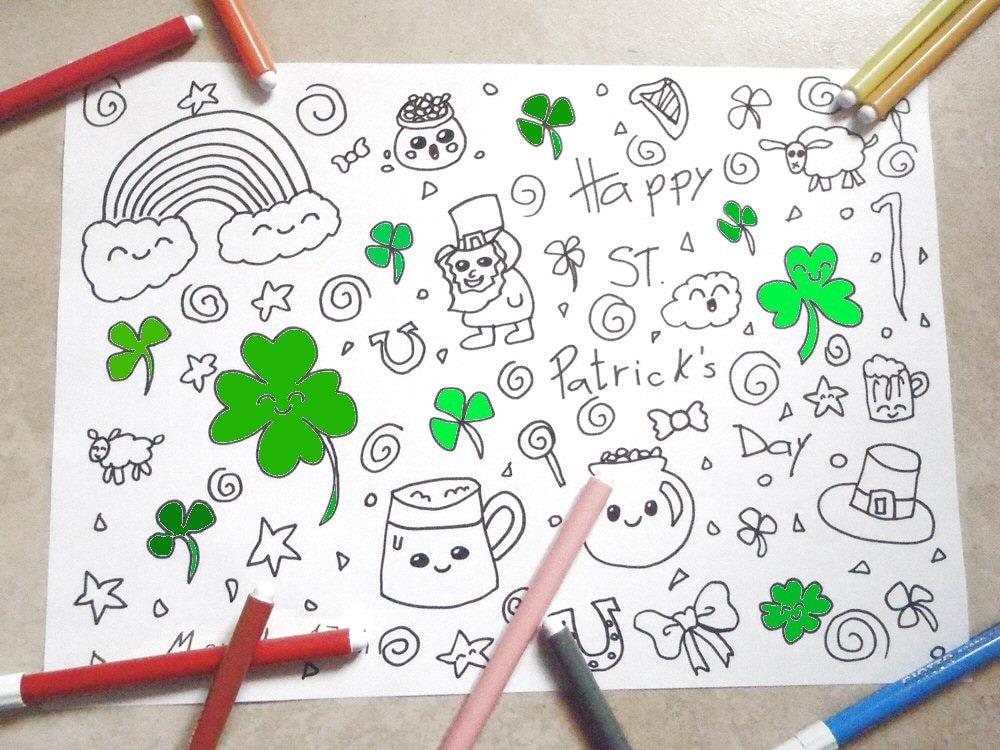 San patrizio disegno da colorare kawaii bambini trifoglio for Disegno pagliaccio da colorare