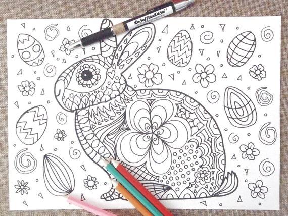 Easter Bunny Card Chibi Kids Coloring Kawaii Rabbit Adults Etsy