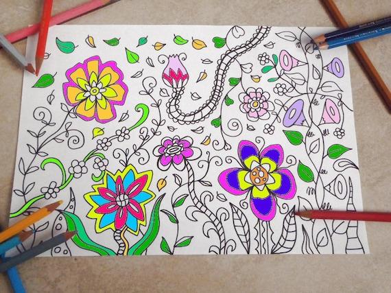 Coloriage Fleur Hippie.Jardin De La Fleur Coloriage Imprimable Pour Adultes Anti Etsy