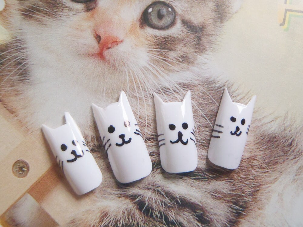 kitty false nails crazy cat lady fake nails cat kawaii white cat ...