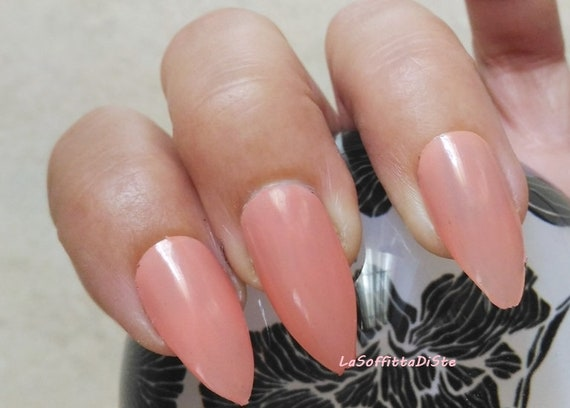 nude pink stick on nails stiletto fake nails almond glossy halloween false  nails christmas pressons night pointy fashion lasoffittadiste