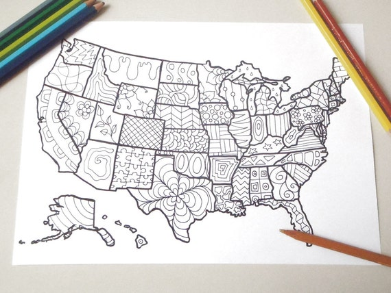 Cartina Costa Est Usa.Stati Uniti Mappa America Cartina Colorare Adulti Bambini Usa Etsy