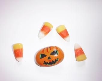 paint rock jack o lantern halloween pumpkin stone