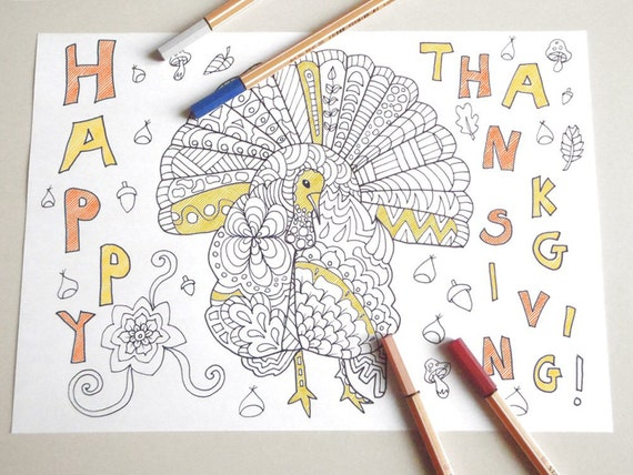 Turkey thanksgiving adult kids coloring book page
