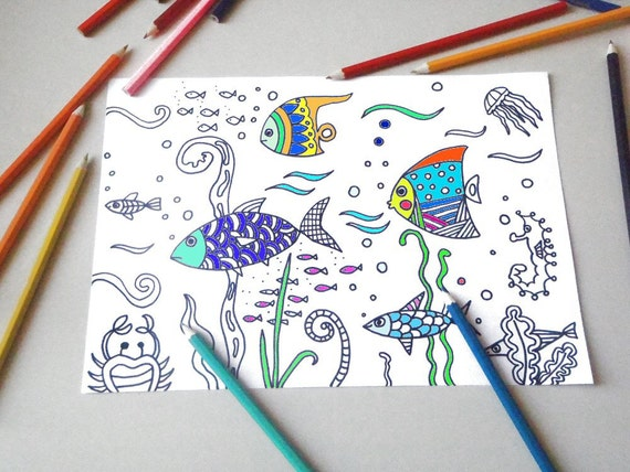 Página para colorear para niños para imprimir peces de mar de   Etsy