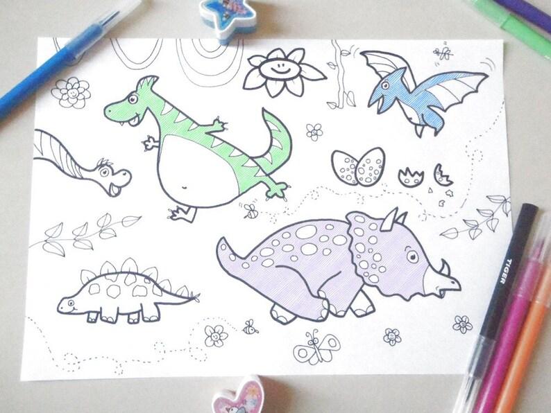 Dinosauri Disegno Da Colorare Bambini Baby Dinosauri Carini Etsy