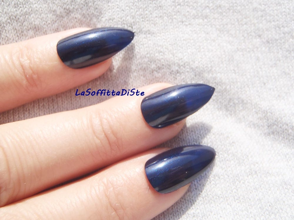 Blu scuro unghie finte stiletto a punta mandorla glossy nail etsy