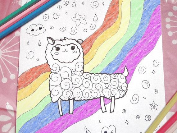 Kawaii Alpaca Llama Adult Kids Coloring Page Fantasy Pastel Etsy