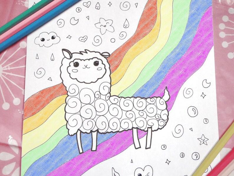 Kawaii Alpaca Da Colorare Lama Pagina Bambini Adulti Fairy Kei Etsy