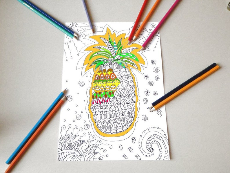 Ananas Tropicale Da Colorare Per Adulti Zentangle Meditazione Etsy