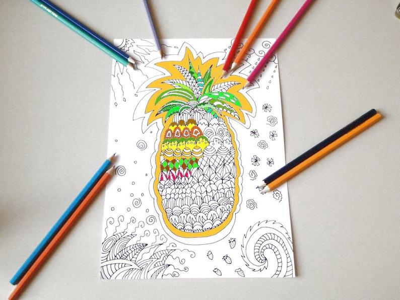 Ananas Tropicale Da Colorare Per Adulti Etsy
