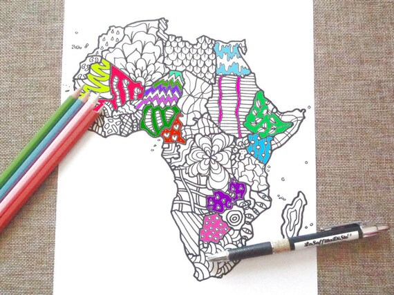 Cartina Dell Africa Da Colorare.Download Africa Mappa Da Colorare Stampare Africana Cartina Etsy