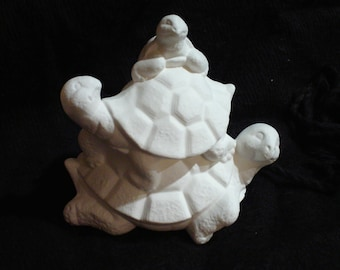 """Ceramic Bisque Three 4"""" Stacked Turtle Friends - Ready to Paint - C343"""