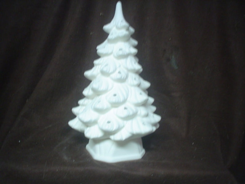 Ceramic Bisque 11 Holland Christmas Tree With Hexagonal Base No Hole For Star Unpainted Ready To Paint E226